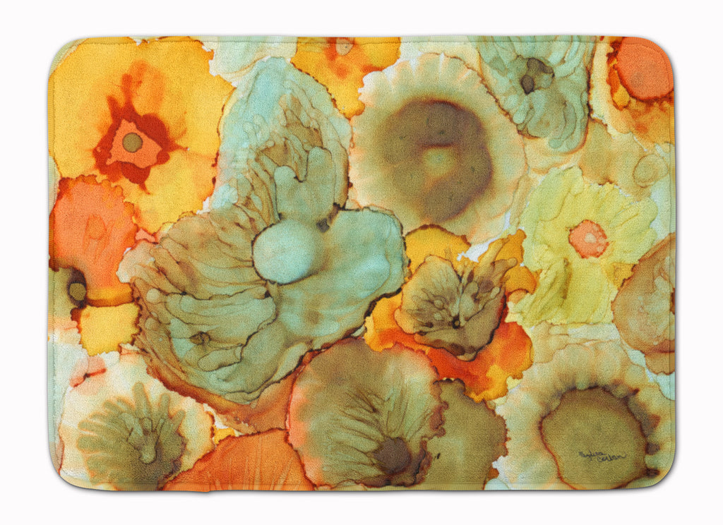 Buy this Abstract Flowers Teal and Orange Machine Washable Memory Foam Mat 8969RUG