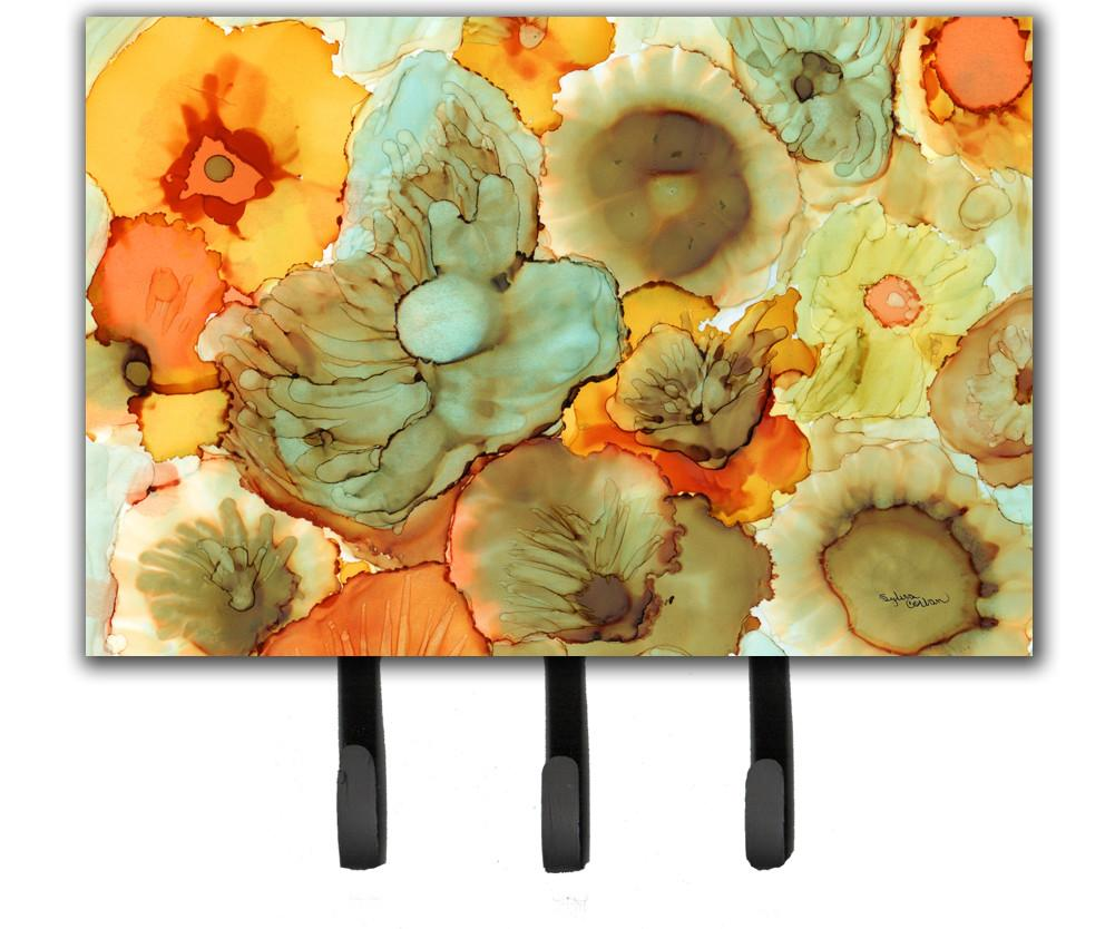 Buy this Abstract Flowers Teal and Orange Leash or Key Holder 8969TH68