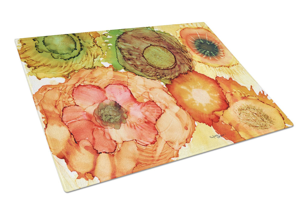 Buy this Abstract Flowers Blossoms Glass Cutting Board Large 8970LCB
