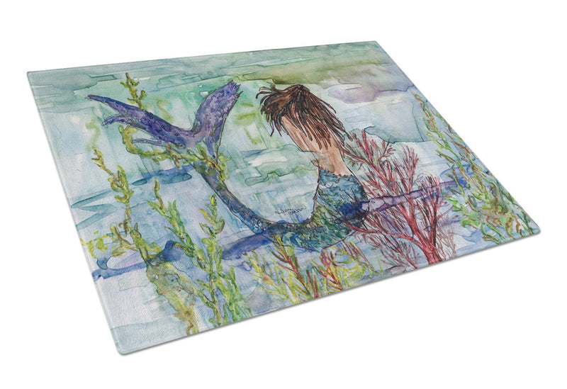 Brunette Mermaid Coral Fantasy Glass Cutting Board Large 8973LCB - the-store.com