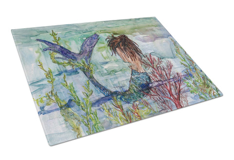 Buy this Brunette Mermaid Coral Fantasy Glass Cutting Board Large 8973LCB