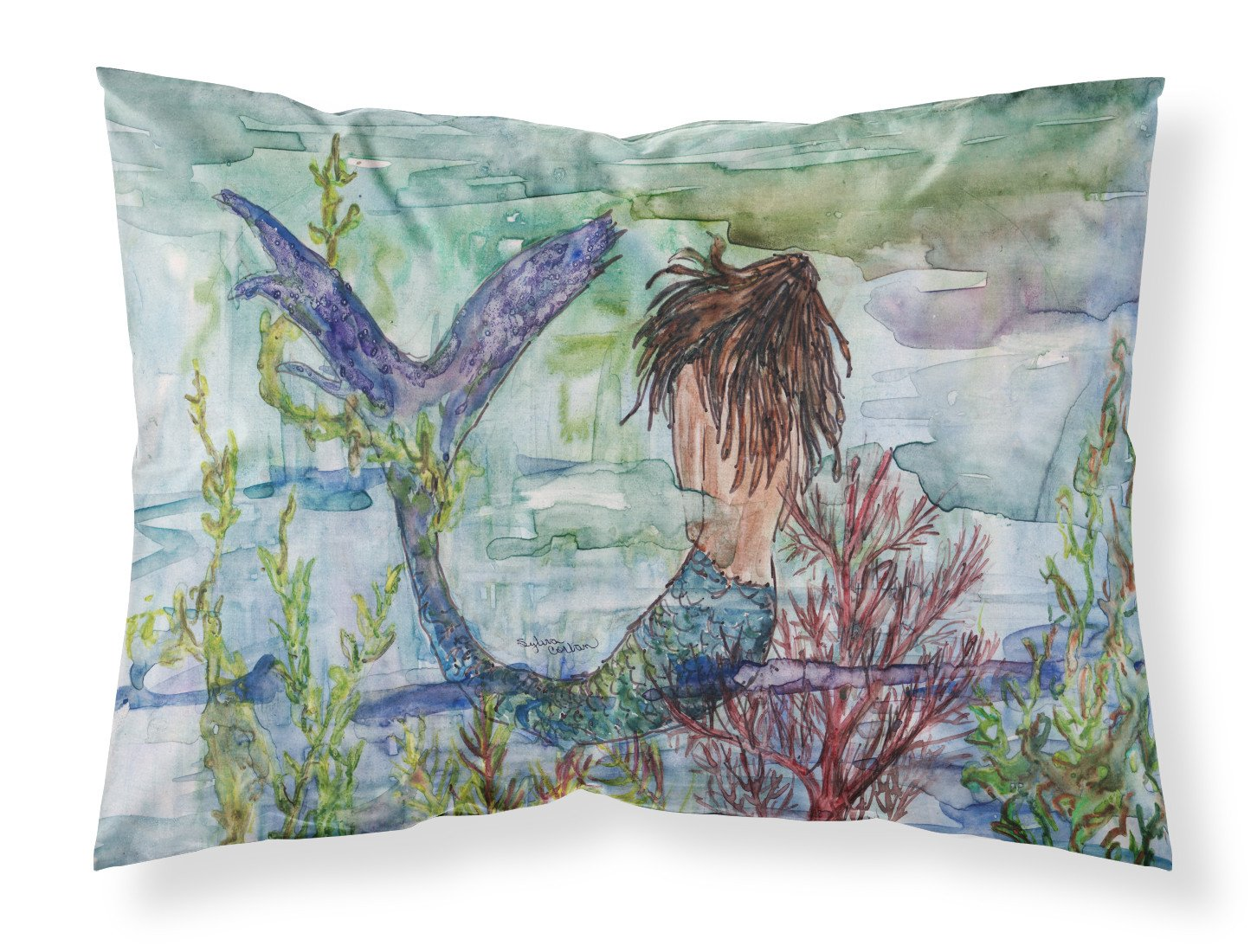 Buy this Brunette Mermaid Coral Fantasy Fabric Standard Pillowcase 8973PILLOWCASE