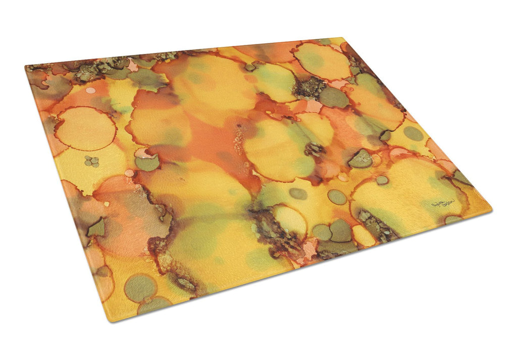 Buy this Abstract in Orange and Greens Glass Cutting Board Large 8976LCB