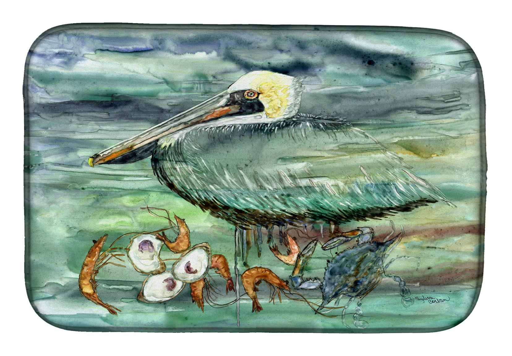 Watery Pelican, Shrimp, Crab and Oysters Dish Drying Mat 8978DDM by Caroline's Treasures