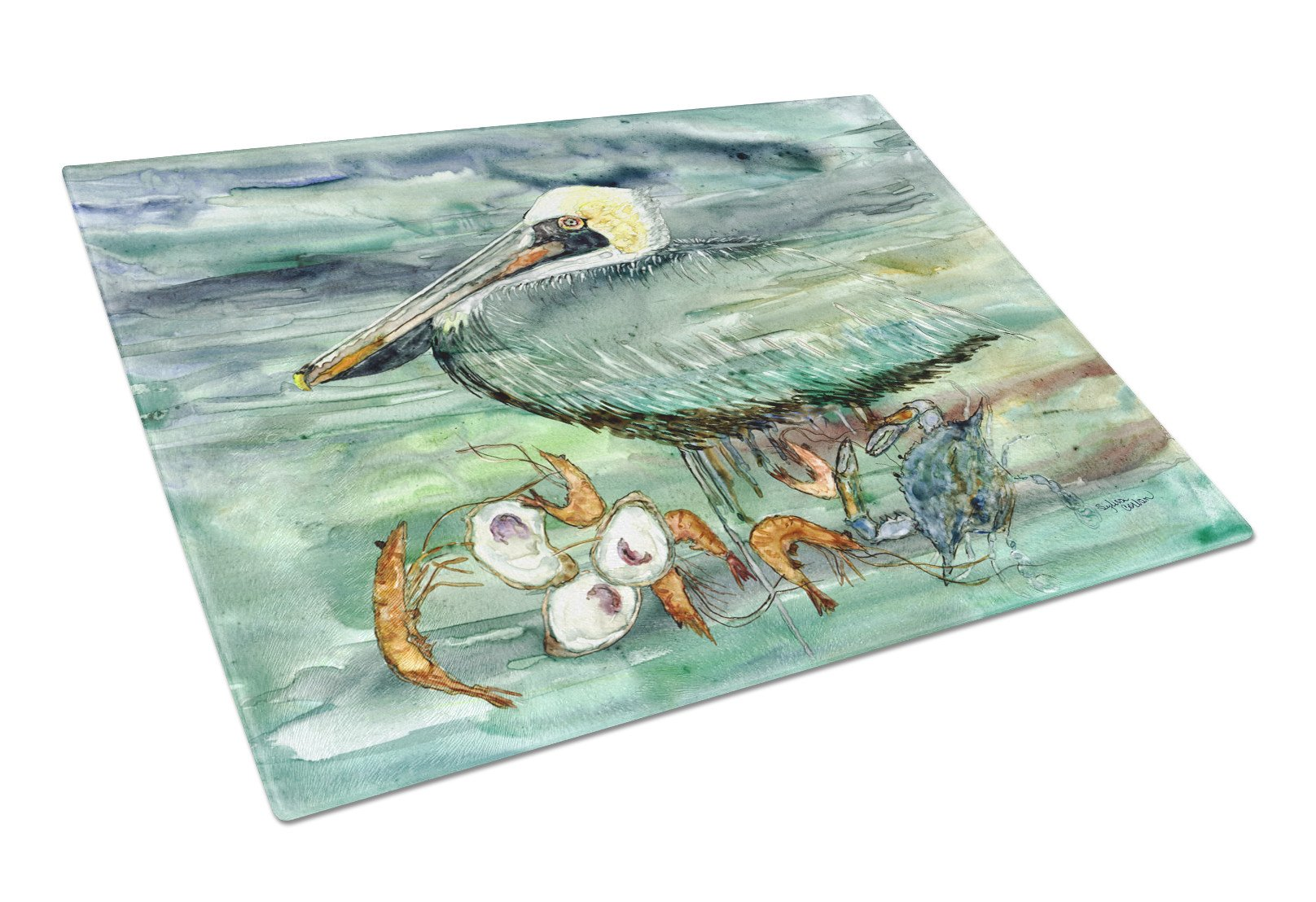 Watery Pelican, Shrimp, Crab and Oysters Glass Cutting Board Large 8978LCB by Caroline's Treasures