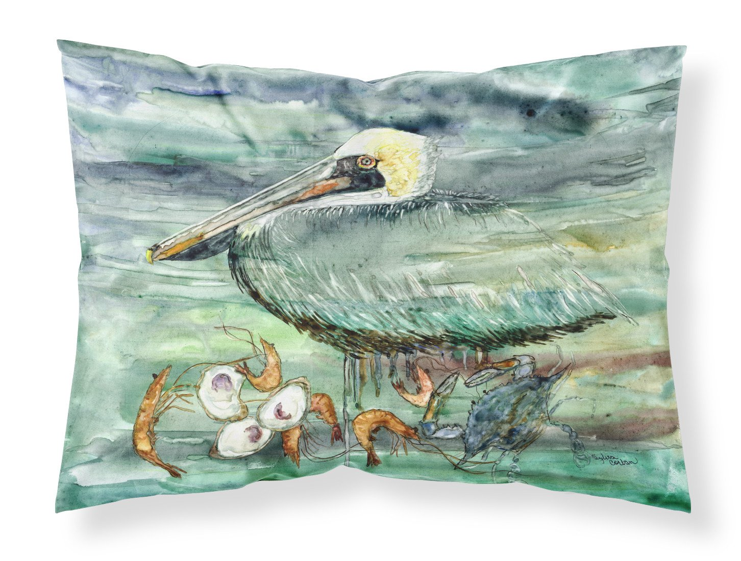 Watery Pelican, Shrimp, Crab and Oysters Fabric Standard Pillowcase 8978PILLOWCASE by Caroline's Treasures