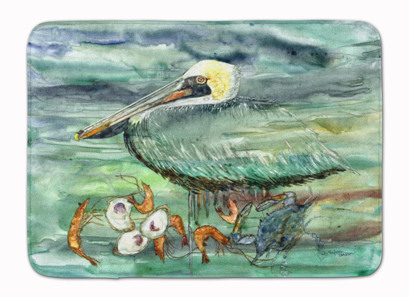 Watery Pelican, Shrimp, Crab and Oysters Machine Washable Memory Foam Mat 8978RUG by Caroline's Treasures