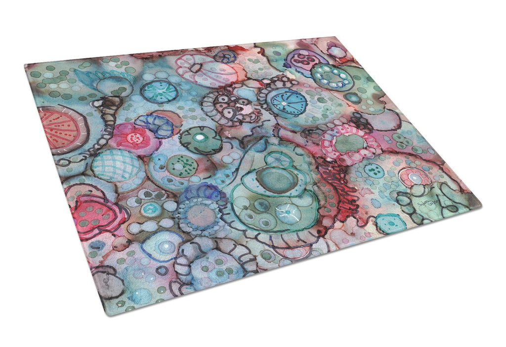 Buy this Abstract in Reds and Blues Glass Cutting Board Large 8982LCB