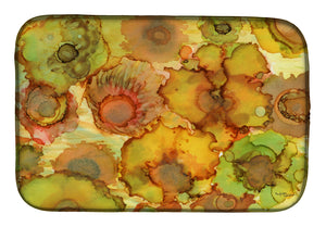 Buy this Abstract Flowers in Yellows and Oranges Dish Drying Mat 8986DDM