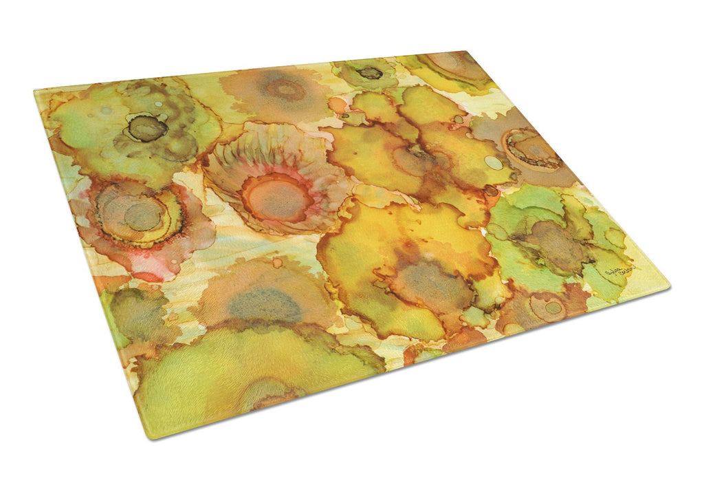 Buy this Abstract Flowers in Yellows and Oranges Glass Cutting Board Large 8986LCB