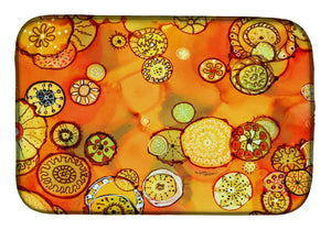 Buy this Abstract Flowers in Oranges and Yellows Dish Drying Mat 8987DDM