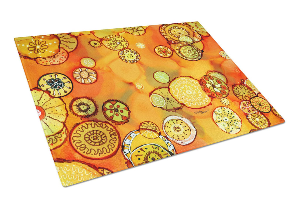 Buy this Abstract Flowers in Oranges and Yellows Glass Cutting Board Large 8987LCB