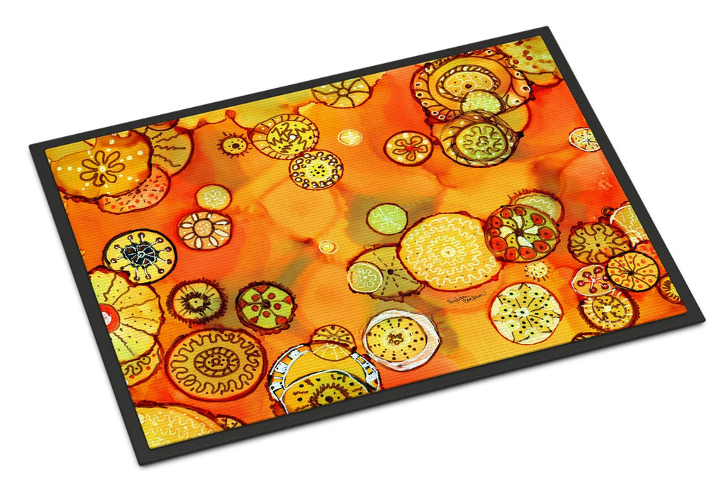 Buy this Abstract Flowers in Oranges and Yellows Indoor or Outdoor Mat 18x27 8987MAT