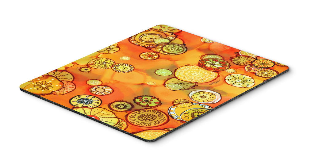 Buy this Abstract Flowers in Oranges and Yellows Mouse Pad, Hot Pad or Trivet 8987MP