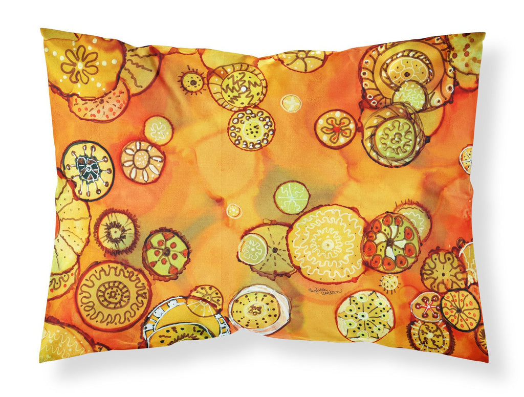 Buy this Abstract Flowers in Oranges and Yellows Fabric Standard Pillowcase 8987PILLOWCASE