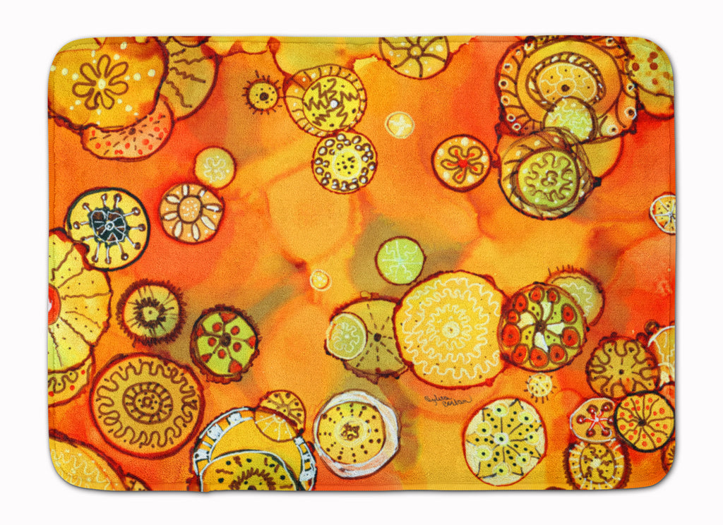 Buy this Abstract Flowers in Oranges and Yellows Machine Washable Memory Foam Mat 8987RUG
