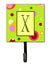 Letter X Initial Monogram - Green Leash Holder or Key Hook by Caroline's Treasures
