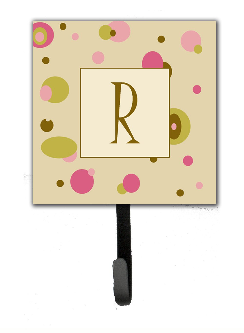Letter R Initial Monogram - Tan Dots Leash Holder or Key Hook by Caroline's Treasures