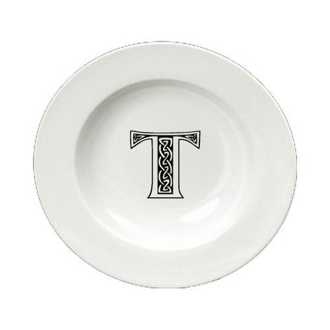 Buy this Letter T Initial Monogram Celtic Round Ceramic White Soup Bowl CJ1059-T-SBW-825