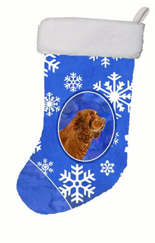 Buy this Sussex Spaniel Winter Snowflakes Christmas Stocking SS4648