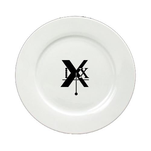 Buy this Letter X Initial Monogram Modern Round Ceramic White Salad Plate CJ1056-X-DPW