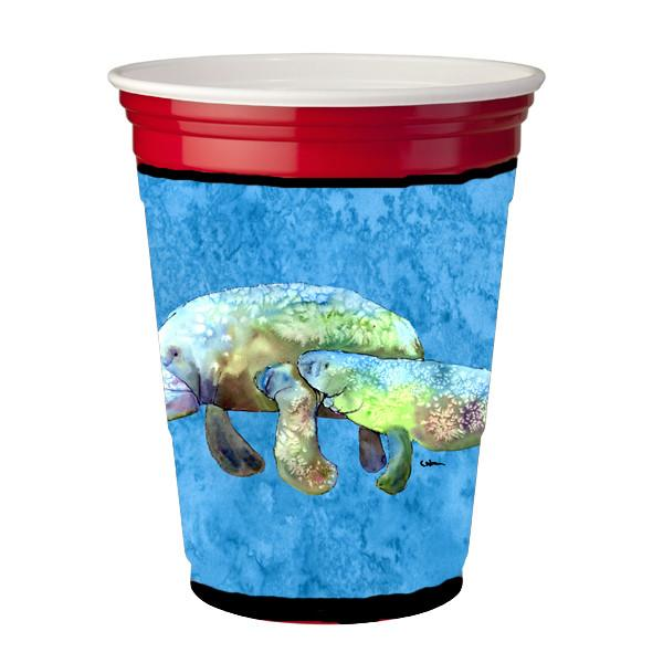 Buy this Manatee Momma and Baby Red Solo Cup Beverage Insulator Hugger