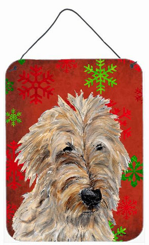 Buy this Golden Doodle 2 Red Snowflakes Holiday Wall or Door Hanging Prints SC9763DS1216