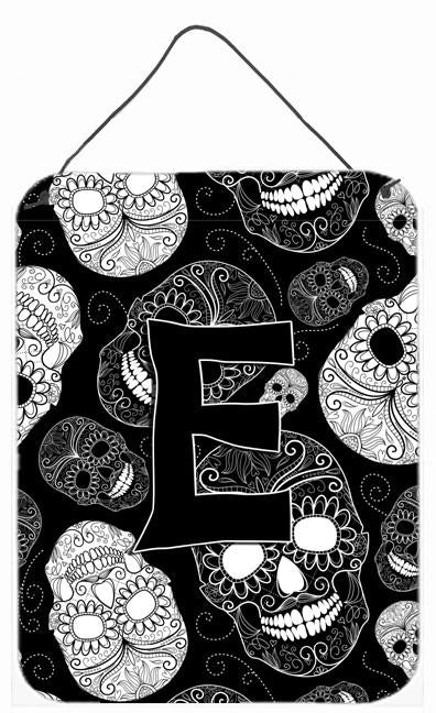 Letter E Day of the Dead Skulls Black Wall or Door Hanging Prints CJ2008-EDS1216 by Caroline's Treasures