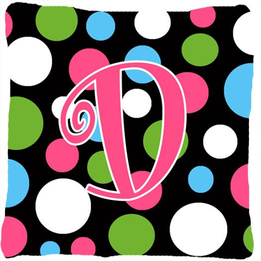 Monogram Initial D Polkadots and Pink Decorative   Canvas Fabric Pillow CJ1038 by Caroline's Treasures