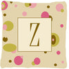 Letter Z Initial Monogram - Tan Dots Decorative   Canvas Fabric Pillow - the-store.com