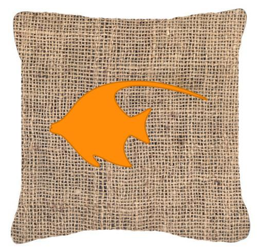 Fish - Angel Fish Burlap and Orange   Canvas Fabric Decorative Pillow BB1019 by Caroline's Treasures