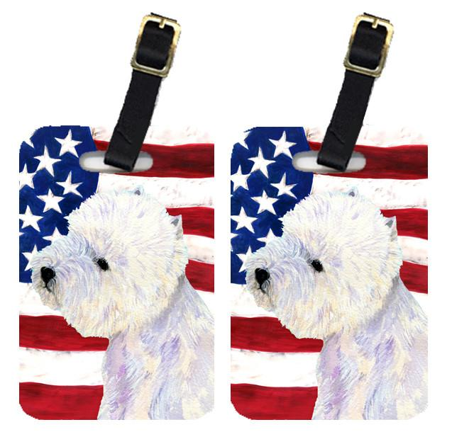 Buy this Pair of USA American Flag with Westie Luggage Tags SS4249BT