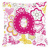 Buy this Letter Q Flowers and Butterflies Pink Canvas Fabric Decorative Pillow CJ2005-QPW1414