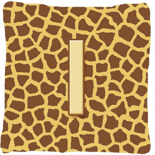 Monogram Initial I Giraffe Decorative   Canvas Fabric Pillow CJ1025 - the-store.com