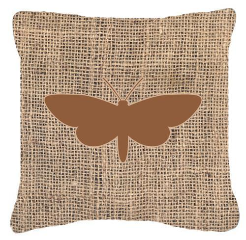 Moth Burlap and Brown   Canvas Fabric Decorative Pillow BB1059 by Caroline's Treasures