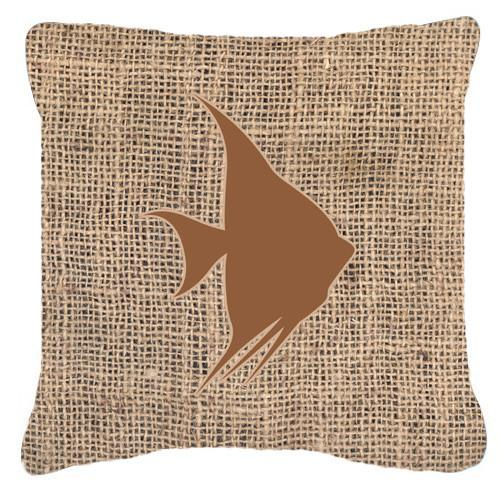 Fish - Angel Fish Burlap and Brown   Canvas Fabric Decorative Pillow BB1022 by Caroline's Treasures