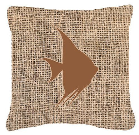 Buy this Fish - Angel Fish Burlap and Brown   Canvas Fabric Decorative Pillow BB1022