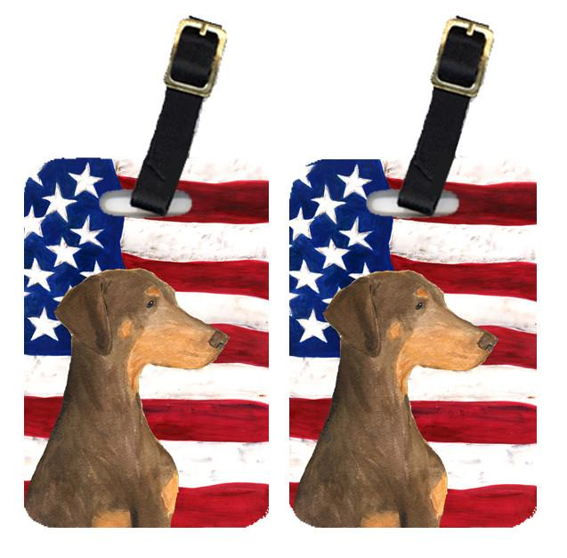 Buy this Pair of USA American Flag with Doberman Luggage Tags SS4058BT