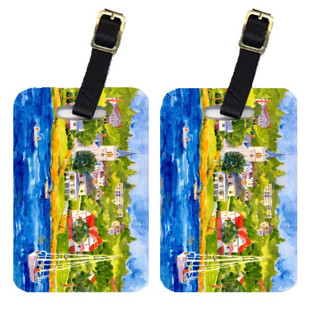 Buy this Pair of 2 Harbour Scene with Sailboat Luggage Tags
