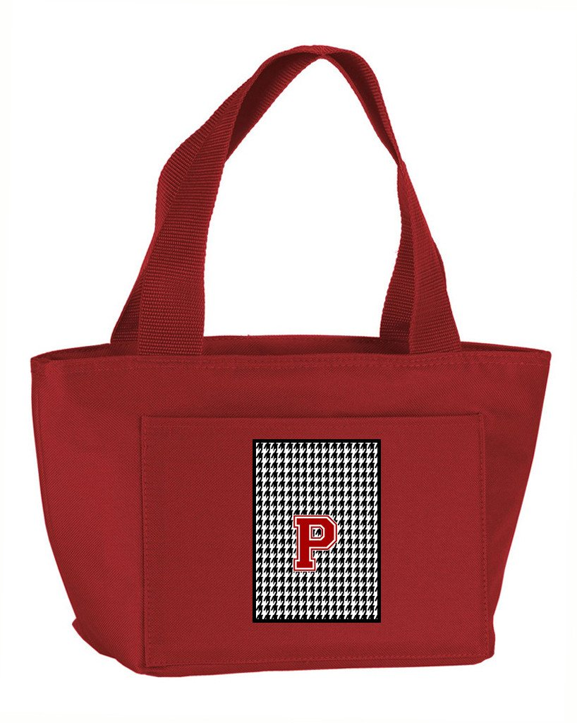 Letter P Monogram - Houndstooth Black Zippered Insulated School Washable and Stylish Lunch Bag Cooler CJ1021-P-RD-8808 by Caroline's Treasures