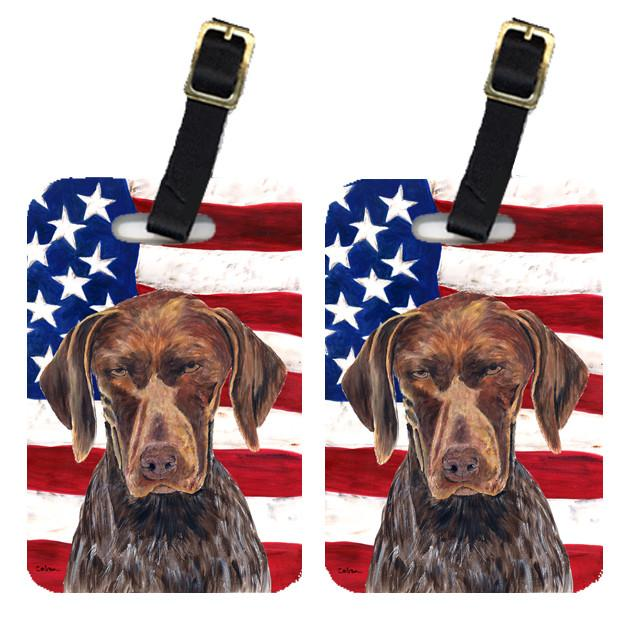 Pair of USA American Flag with German Shorthaired Pointer Luggage Tags SC9034BT by Caroline's Treasures