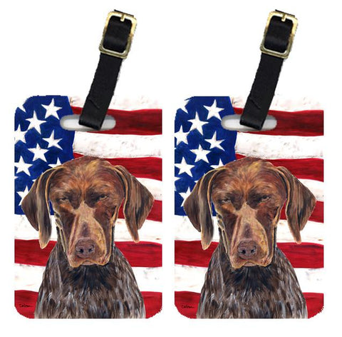 Buy this Pair of USA American Flag with German Shorthaired Pointer Luggage Tags SC9034BT