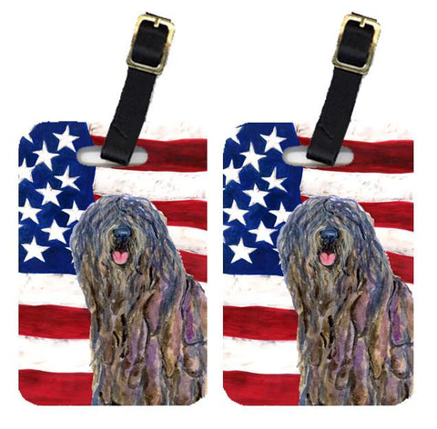 Buy this Pair of USA American Flag with Bergamasco Sheepdog Luggage Tags SS4008BT