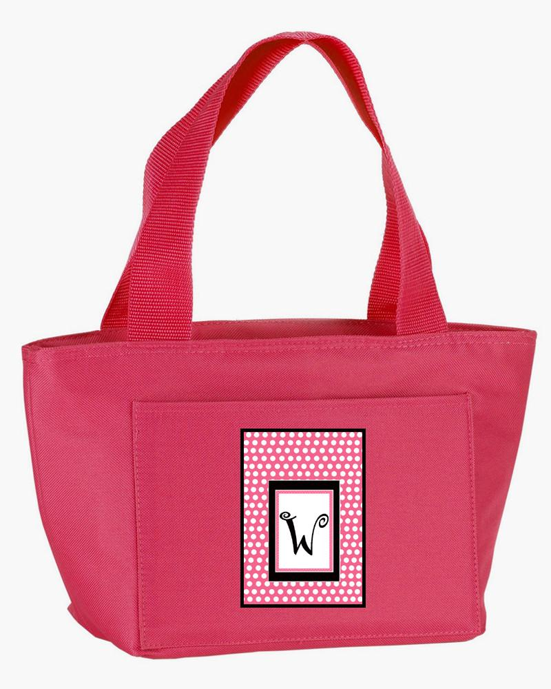 Buy this Letter W Monogram - Pink Black Polka Dots Lunch Bag or Doggie Bag CJ1001-W-PK-8808