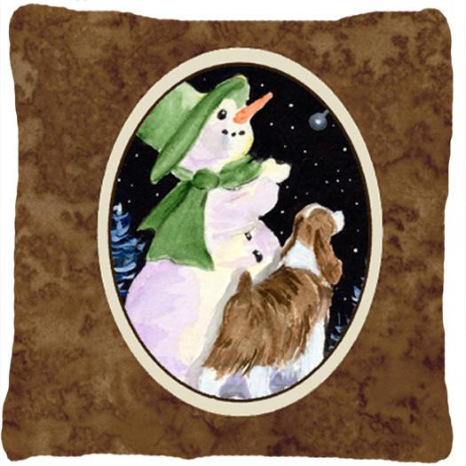 Snowman with Springer Spaniel Decorative   Canvas Fabric Pillow by Caroline's Treasures