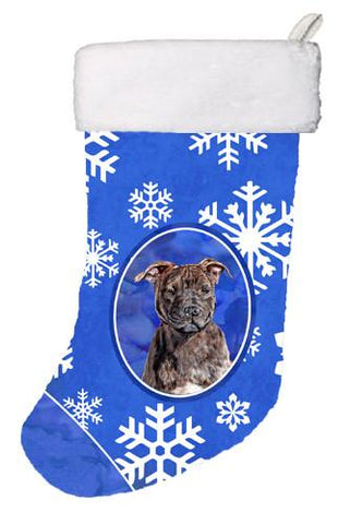Buy this Staffordshire Bull Terrier Staffie Winter Snowflakes Christmas Stocking SC9777-CS