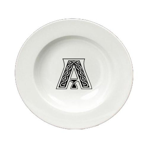 Buy this Letter A Initial Monogram Celtic Round Ceramic White Soup Bowl CJ1059-A-SBW-825