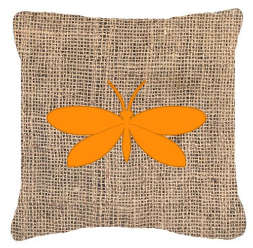 Moth Burlap and Orange   Canvas Fabric Decorative Pillow BB1055 by Caroline's Treasures