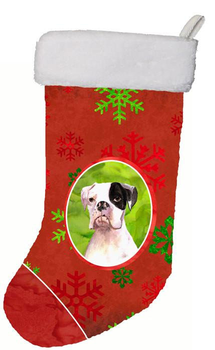 Buy this Cooper Red Snowflakes Boxer Christmas Stocking RDR3004