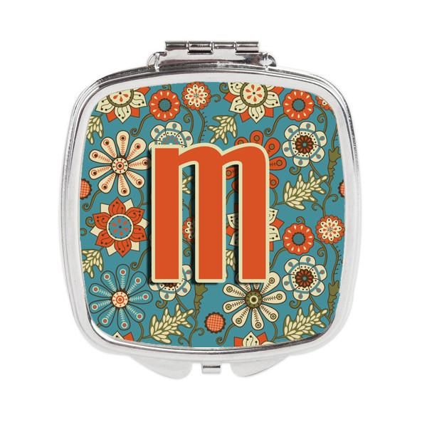Letter M Flowers Retro Blue Compact Mirror CJ2012-MSCM by Caroline's Treasures